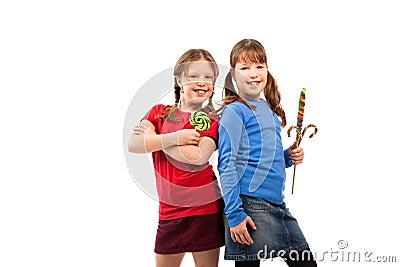 Girls in lollipop pose