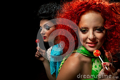 Girls with lollipops