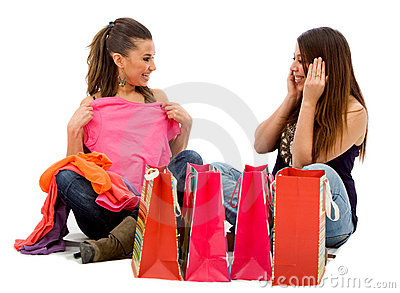 Girls looking at their purchases