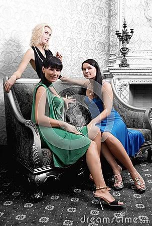 Girls in luxury interior