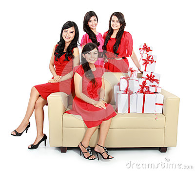 Girls with many gift boxes