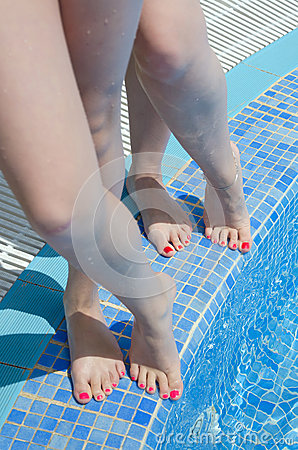 Girls near the swimming pool