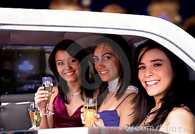 Girls night out in a limousine