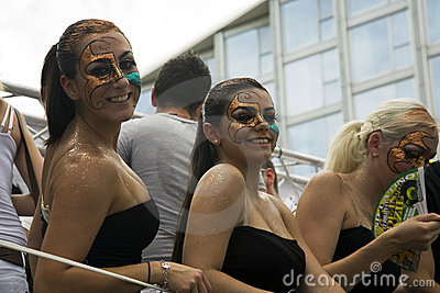 Girls with painted faces Editorial Stock Image