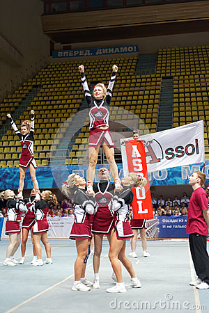Girls-participants of cheerleaders team Assol Editorial Stock Photo