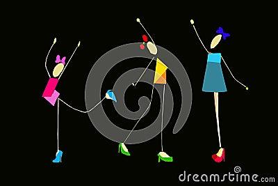 Girls performing gymnastic