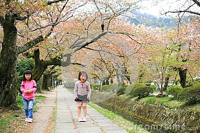 Girls at Philosopher s path in Kyoto Editorial Photo