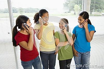 Girls on phones.