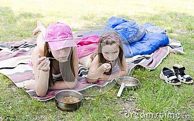 Girls on a picnic