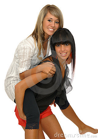 Girls piggyback
