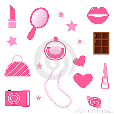 Girls pink icons and elements isolated on white
