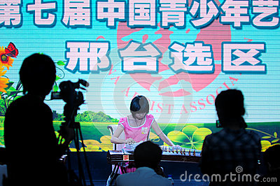 Girls play the Guzheng Editorial Stock Photo