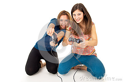 Girls play video games on the joystick