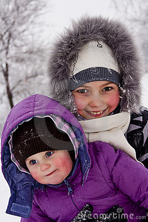 Girls played with snow