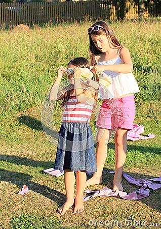 Girls playing a game