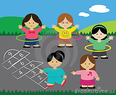 Girls playing hopscotch and hula hoops
