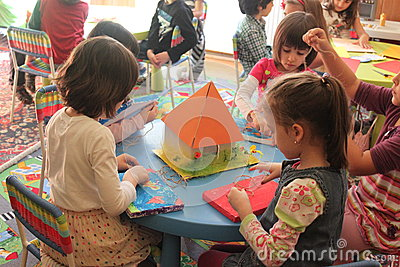 Girls playing in kindergarten Editorial Stock Photo