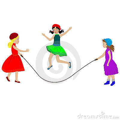 Girls playing over white background