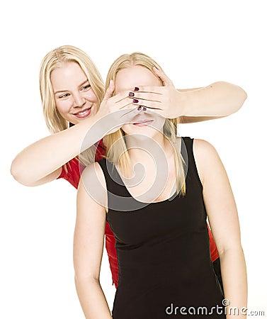 Girls playing Peek-a-boo