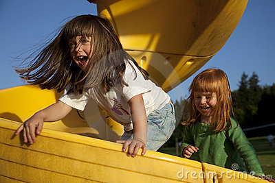 Girls Playing on Slide