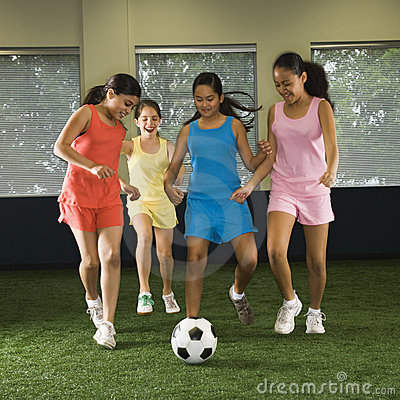 Free Girls Playing Soccer. Stock Images - 3421804