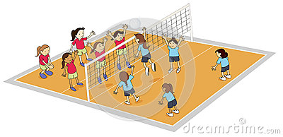 Girls playing volley ball