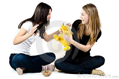 Girls playing with a yellow duck