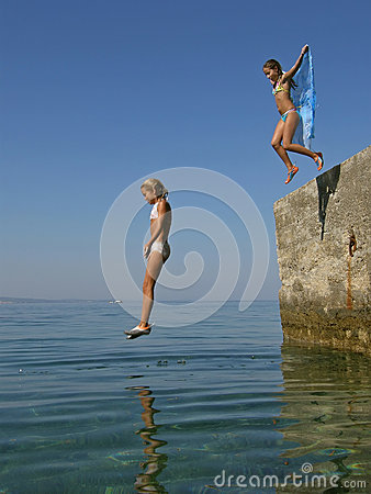Girls plung in sea