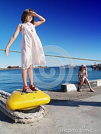 Girls in a port