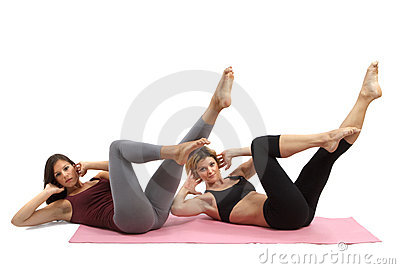 Girls practicing pilates