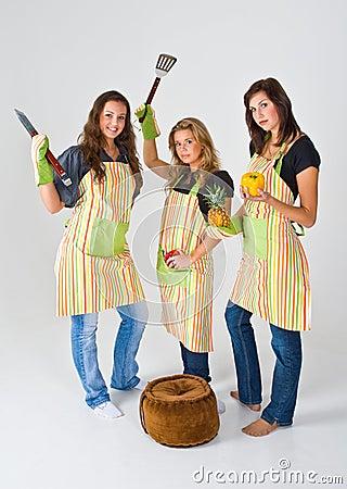 Girls preparing to cook