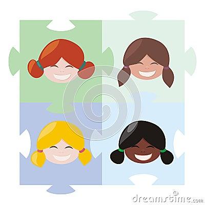 Girls puzzle - teamwork globalization union symbol