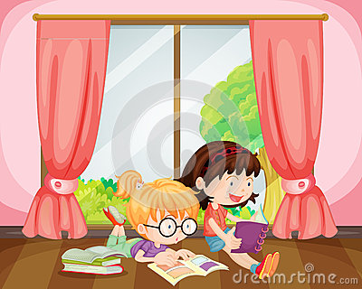 Girls reading book