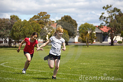 Girls running in sports race