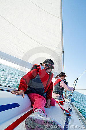 Girls sailing on yacht