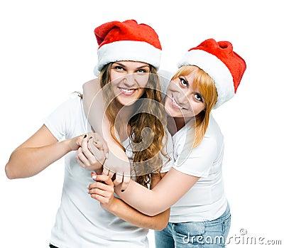 Girls in Santa hat