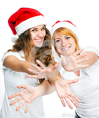 Girls in Santa hat