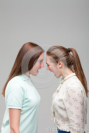 Free Girls Screams At Each Other, Studio Photo Shoot Stock Photography - 91928512