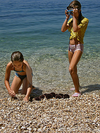 Girls and sea urchins