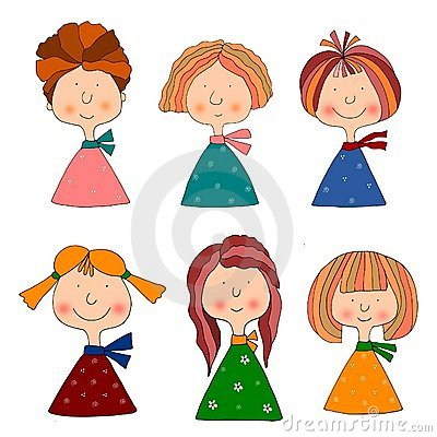 Girls. Set of cartoon characters