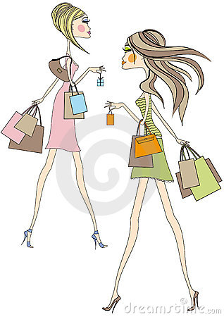 Girls with shopping bags,