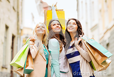 Girls with shopping bags in ctiy