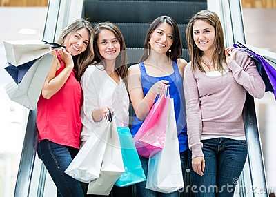 Girls at the shopping center