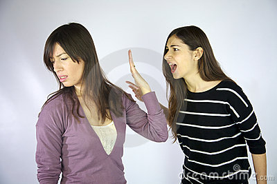 Girls shouting at each other