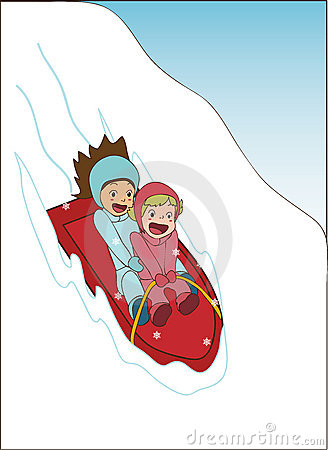 Girls sledding and laughing
