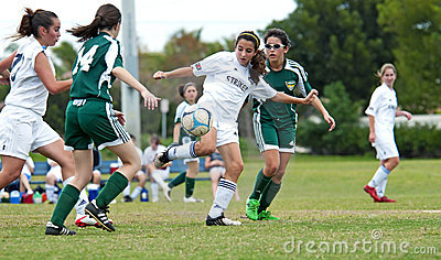 Girls soccer action Editorial Stock Image