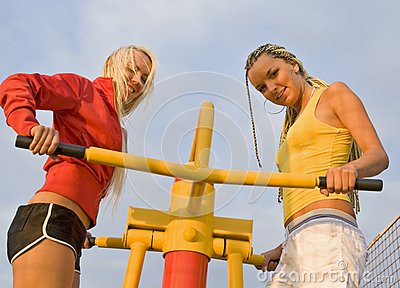 Girls on sport playground