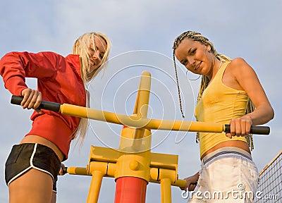 Girls on sport playground