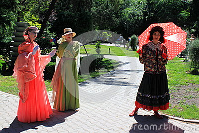 Ladies doing pantomime Editorial Stock Photo