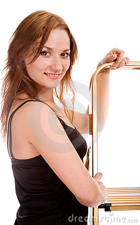 Girls With Stepladder Royalty Free Stock Images - Image: 15107319